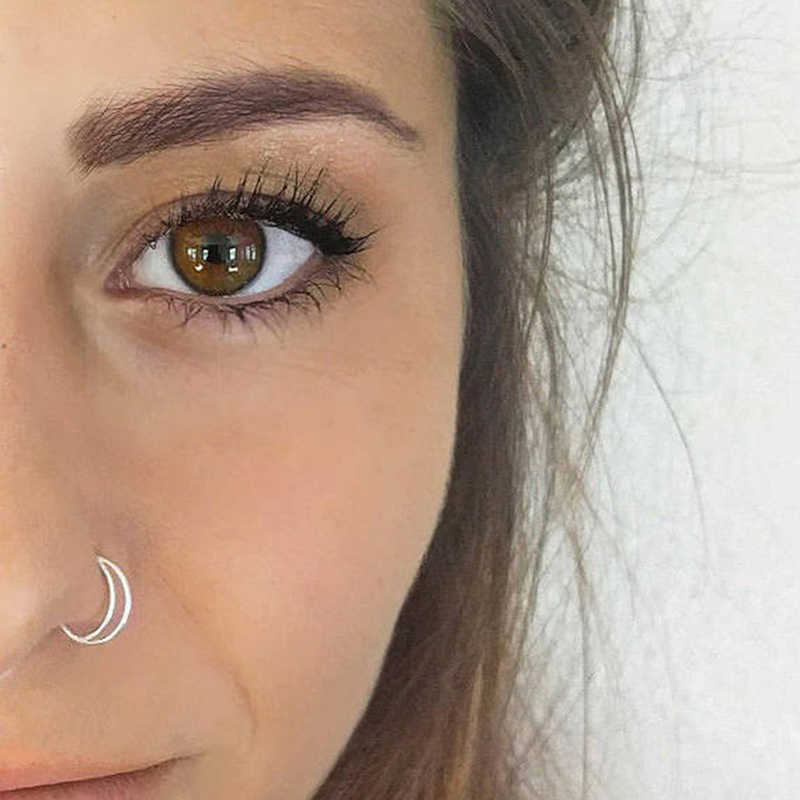 2pcs Simple Moon Nose Ring Hoop Indian Nose Ring Septum Ring Nose