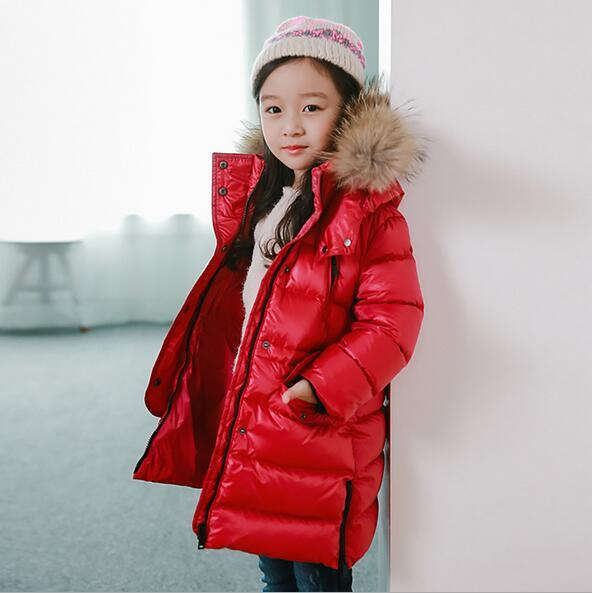 2016 Girl down winter jackets Cotton coat long thick warm Children's winter clothing Outerwear &Coats duck down jacket