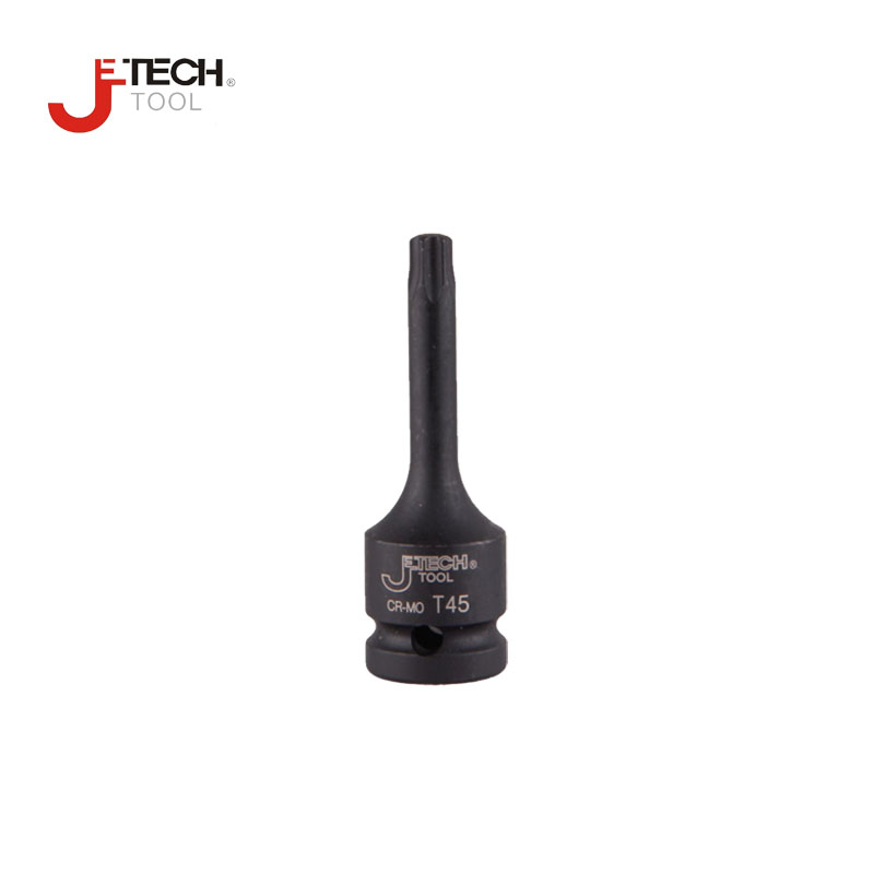 Jetech Cr-mo 3 78mm Long Black Impact Torx Star Bit Socket 1/2 Dr Wrench T20 T25 T27 T30 T40 T45 T47 T50 T55 T60 T70 Without Hole