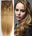 """16 castanha frete grátis 16 """" - 32 """" 100% brasileiro remy grampos de cabelo / extensões de cabelo humano 10 Pcs conjunto de espessura"""