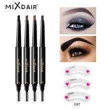 hot deal buy mixdair eyebrow enhancer with stencil eyes make up tools cosmetics natural long lasting paint waterproof black eyebrow pencil