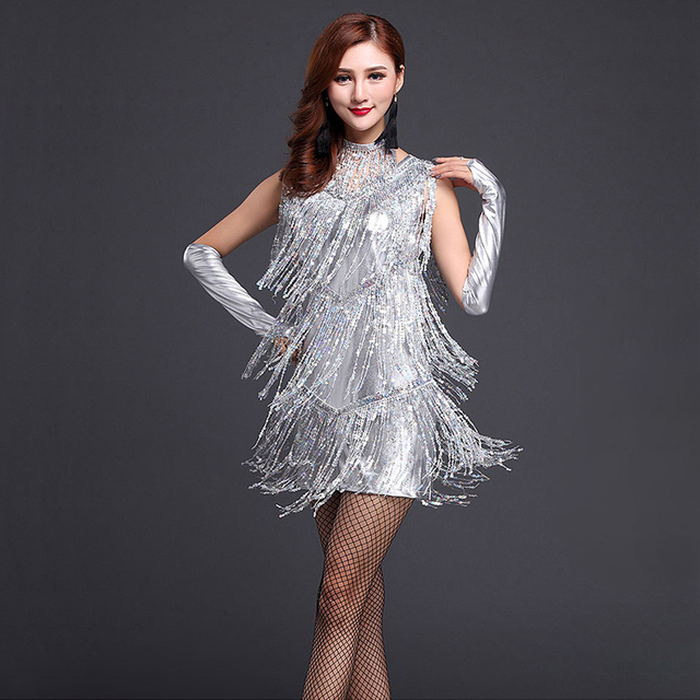 Performance 2018 femmes danse vêtements Salsa Costume 3 pièces ensemble avec collier salle de bal compétition latine Sequin robes pour les filles
