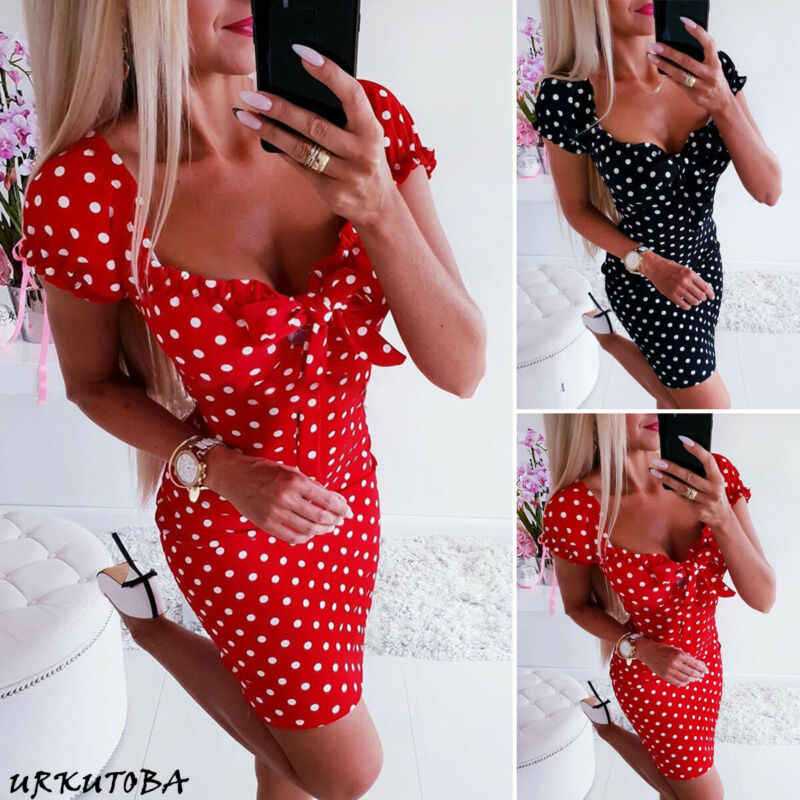 2019 Newest Hot Women Boho Polka Dot Printed Sexy Bow Bodycon Dress Summer Holiday Sundress Beachwear Mini Dress