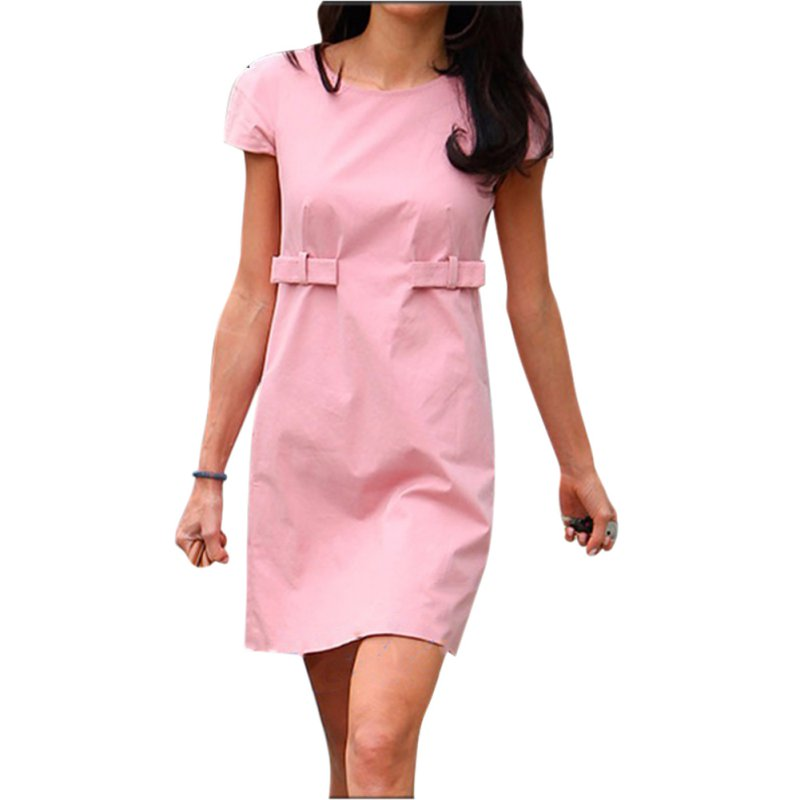 <font><b>2019</b></font> Fashion Women Summer <font><b>Dresses</b></font> Summer Pink Casual Short Sleeve <font><b>Runway</b></font> Casual T Shirt <font><b>Dress</b></font> European Style image