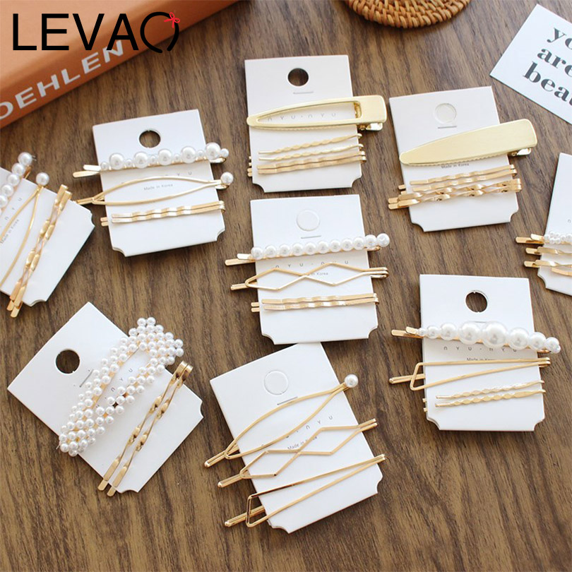 LEVAO 1SET Korean Pearl Geometric Irregular Hairgrips Women Side Bangs   Headwear   Hair Clip Hairpins Girls Barrettes Accessories