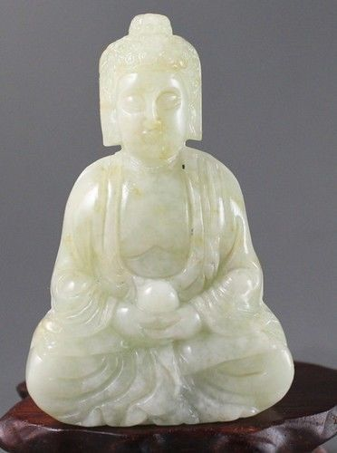 CHINESE HANDWORK CARVING BUDDHA OLD white JADE STATUE-in