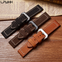 LPWHH Genuine Cow Leather Watchband Thick Stainless Steel Clasp 20mm 22mm 24mm Black Brown Pin Buckle Watch Band Soft Strap