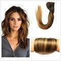 Color #2/2/6 Dark Brown Ombre Balayage Caramel Blonde Destaca Clip-En Extensiones de Cabello 9 unids Cabeza Llena Remy Recta Del Pelo Humano