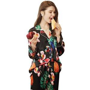 Image 5 - Sexy Silk Satin Pajama 2PCS Set XXL For Women Tropical Print Sleepwear Long Sleeve Trouser Summer Spring Pajama Set Nightwear