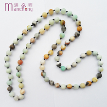 Здесь можно купить   2017 New Amazonite necklace,knotted Frosted Matte Amazonite beaded necklace,Cheapest Round Matte Amazonite Stone Rope Necklace Fashion Jewelry