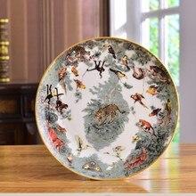 Экваториальная серия джунглей костяной фарфор плоская тарелка фруктовый салат тарелка посуда для дома Кухонная Посуда Украшение