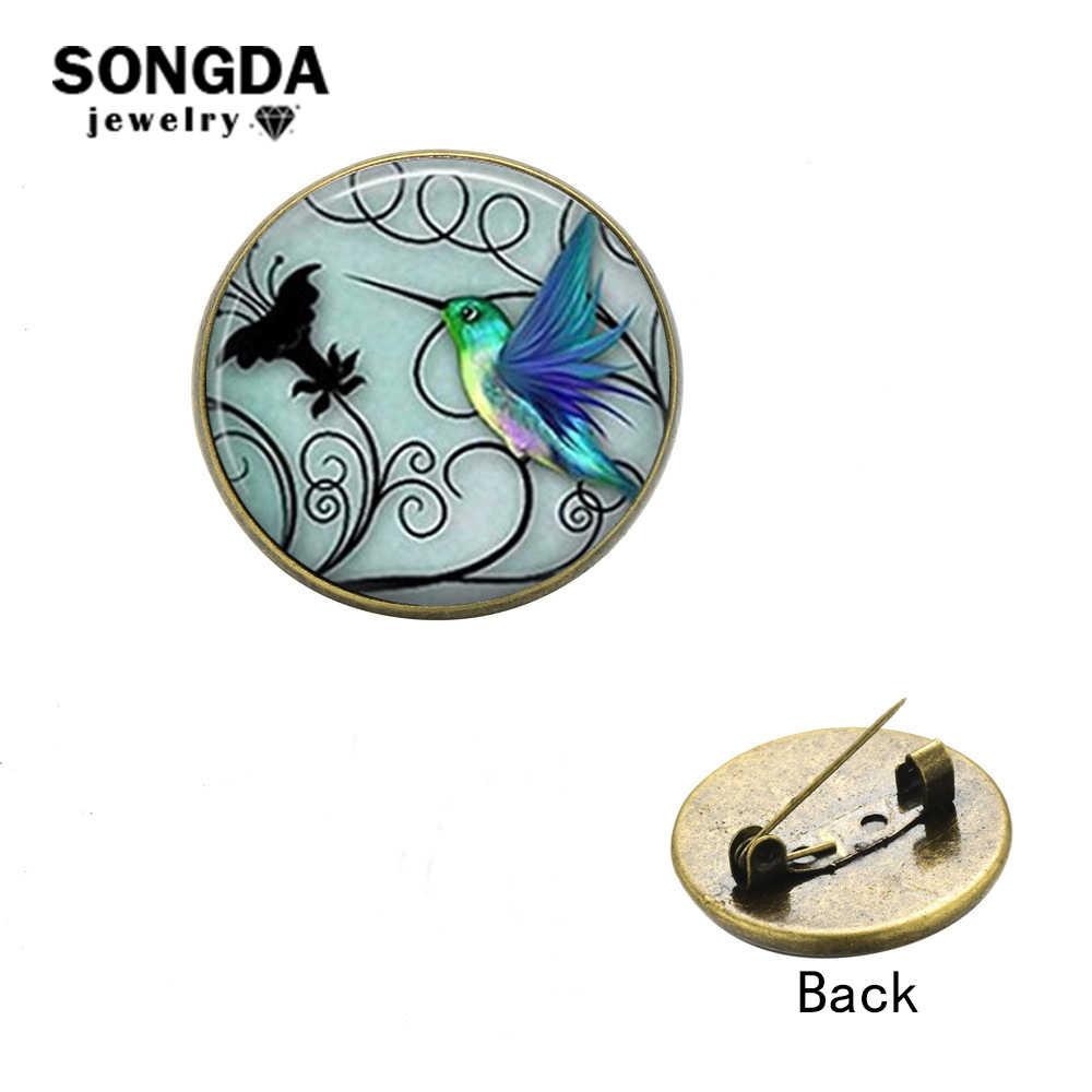 Songda Biru Hummingbird Bros untuk Wanita Burung Kecil Hewan Seni Lukisan Kaca Bulat Pin Tombol untuk Mantel Perjamuan Aksesoris