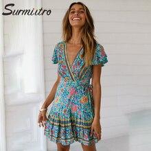 Surmiitro 2019 Spring Summer Sexy Deep V Print Wrap Dress Women Short Sleeve Tunic Beach Sundress Mini Party Dress Female