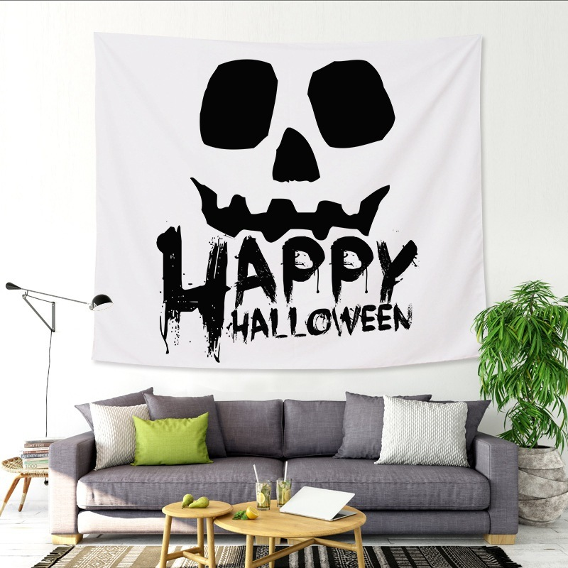Horror Witchcraft Tapestry Wall Hanging Fabric Ghost Pumpkin Castle Bat Halloween Decoration Home Psychedelic
