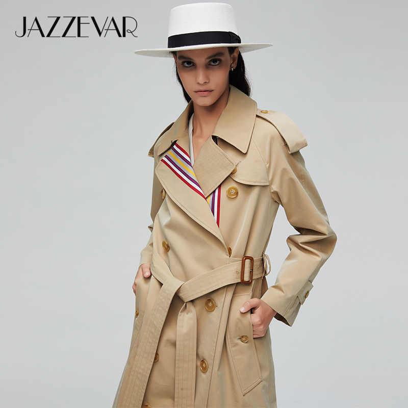 منتج جديد من jazevar لعام 2019 معطف خريفي كاكي للنساء غير رسمي أنيق عالي الجودة من القطن مع حزام معطف طويل للنساء 9004