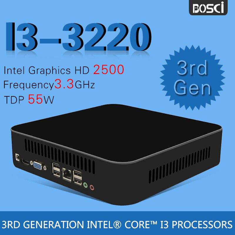 Intel de doble núcleo i3 3220 mini pc windows 10 ordenador de sobremesa pocket p
