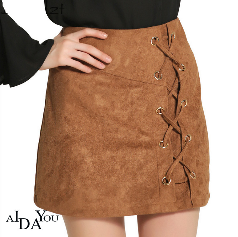Denim Mini Skirts Brown Womens Casual Sexy Solid Empire Summer A-line Lace-up Suede Skirt For Work Night Club AIDAYOU Ouc616a