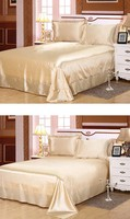 4PCS Bed Sheet set Silk bedspread Bedding sets Satin Fitted sheets linen bedset California Super King Queen size full double