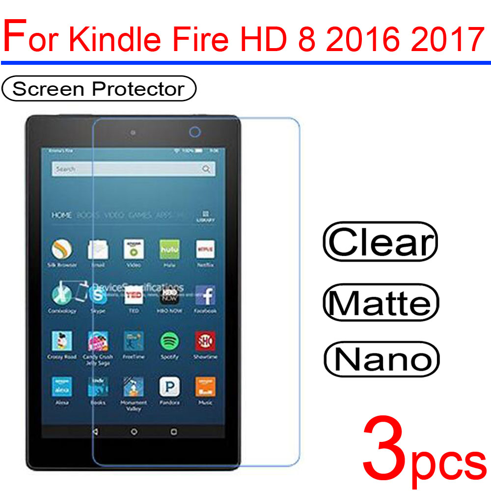 3pcs Ultra Clear Soft LCD  Screen Protectors Film Guard Cover For Amazon Kindle Fire HD 7 8 10 2016 2017 Protective Film + Cloth