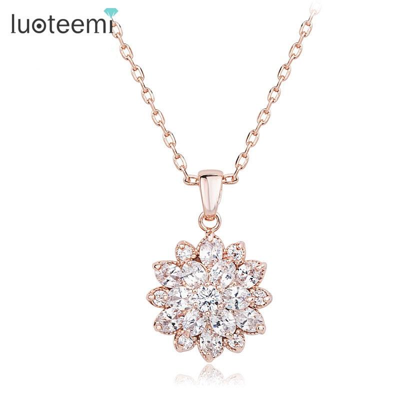 LUOTEEMI 2017 New Brand Rose/ White Gold-Color Clear Cubic Zirconia Flower Wholesale Necklace Pendant High Quality Jewelry тонер картридж panasonic kx fatc506a7 голубой для panasonic kx mc6020ru