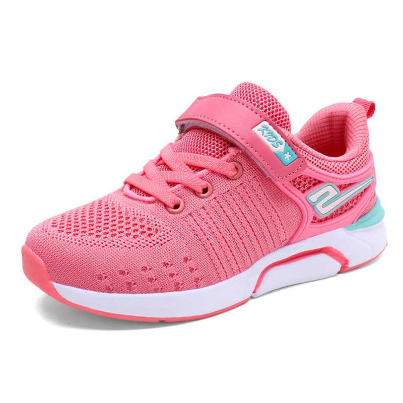 Ulknn Meisjes Zwarte Kinderen Sport Schoenen Lente Herfst Ademend Mesh Knit Schoenen Leerlingen Kids Leisure Sneakers Voor Student