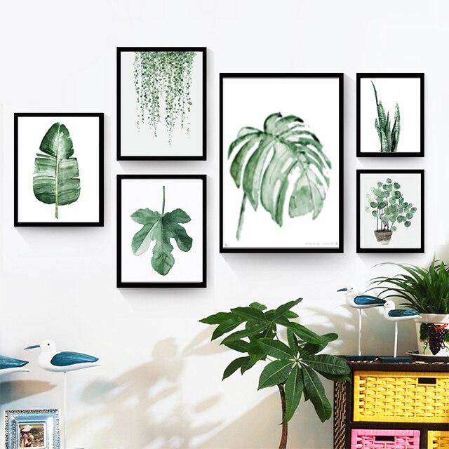 Frische grüne pflanzen leinwand malerei mode aquarell pflanzen ...