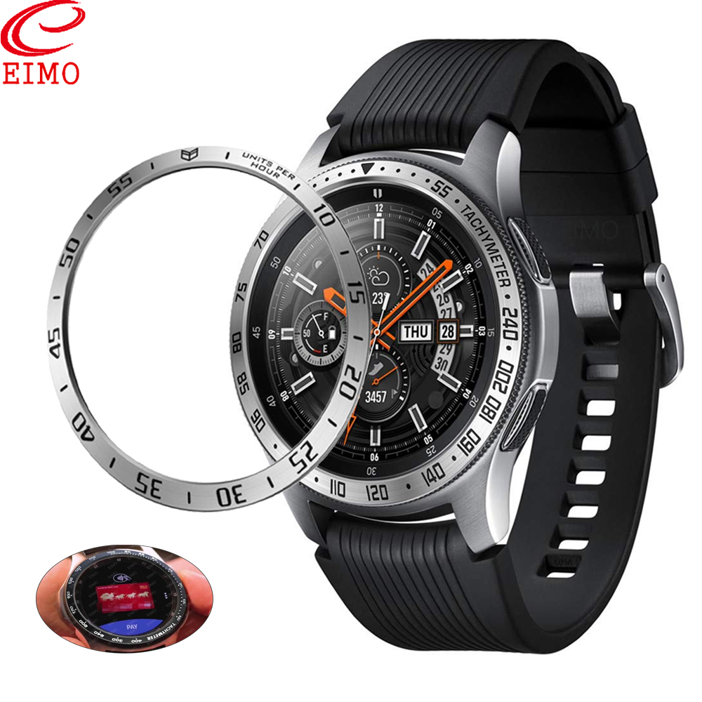 EIMO Bezel ring For Samsung gear s3 Galaxy Watch 46mm 42mm Metal Bezel Ring Adhesive Cover Anti Scratch smart watch accessories