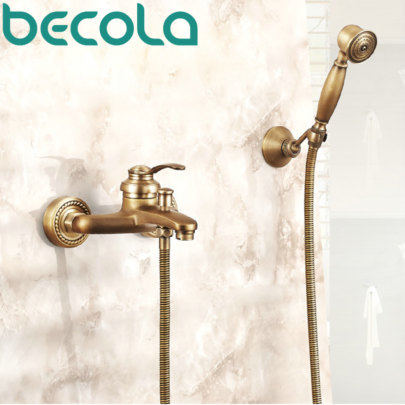 becola antique brass shower faucet set bathroom hot and cold water bathtub faucets wall mounted GZ-8301 free shipping chrome brass hand shower set faucet wall mounted with brass holder and hot cold control shower valve is125