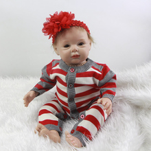 With Hair Silicone Vinyl Reborn Baby Girl 22 Inch Princess Newborn Babies Doll Toy With Stripped Clothes Kids Birthday Xmas Gift