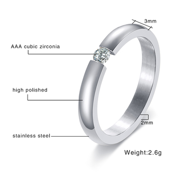 Engagement Ring for Women Stainless Steel Silver Color Gold Color Finger Girl Gift US Size 5 6 7 8 9 10 2