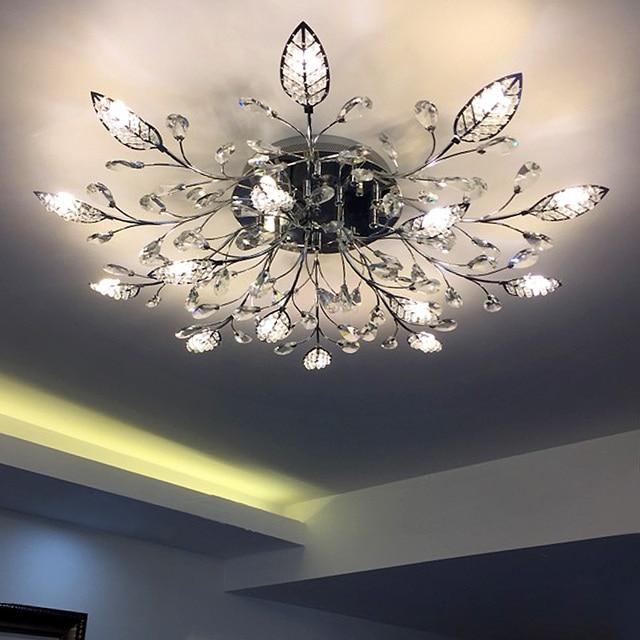 European round crystal lamp living room headlights modern minimalist gold led restaurant ceiling lamp creative American bedroom