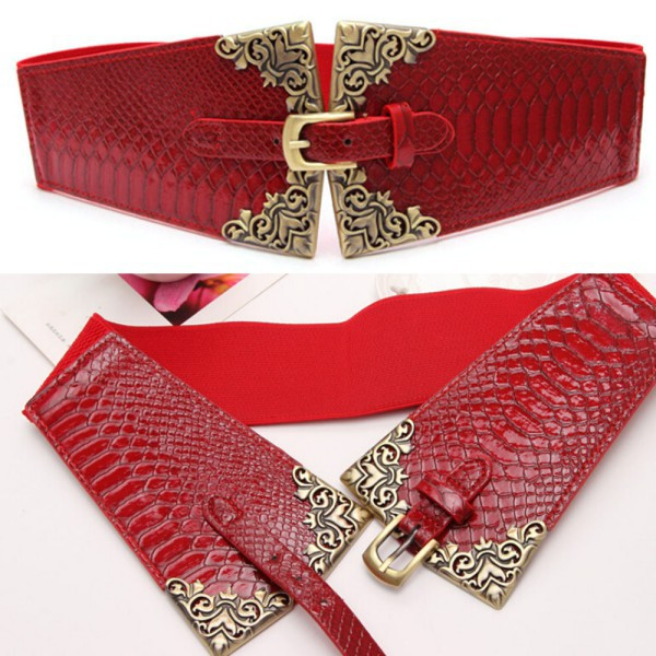 Vintage Metal Buckle Stylish Women Elastic Wide Waist Belt Leather Waistband - Trustworthy Online Mall store