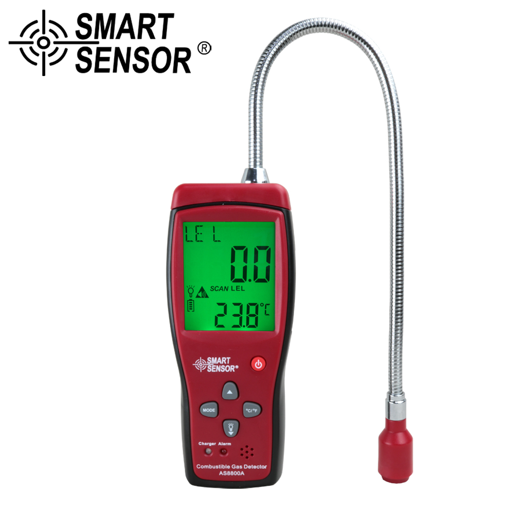 Gas Analyzer Automotive Combustible Gas Detector Gas Leakage Location Determine leak Tester + LCD Sound & Light Alarm Li-battery