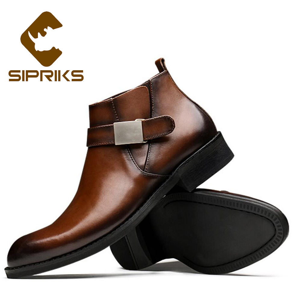 Sipriks Fashion Winter Genuine Leather Boots Mens Classsic Casual Ankle Boots Real Rubber Outsole Boots Cowboy Shoes Brown 44