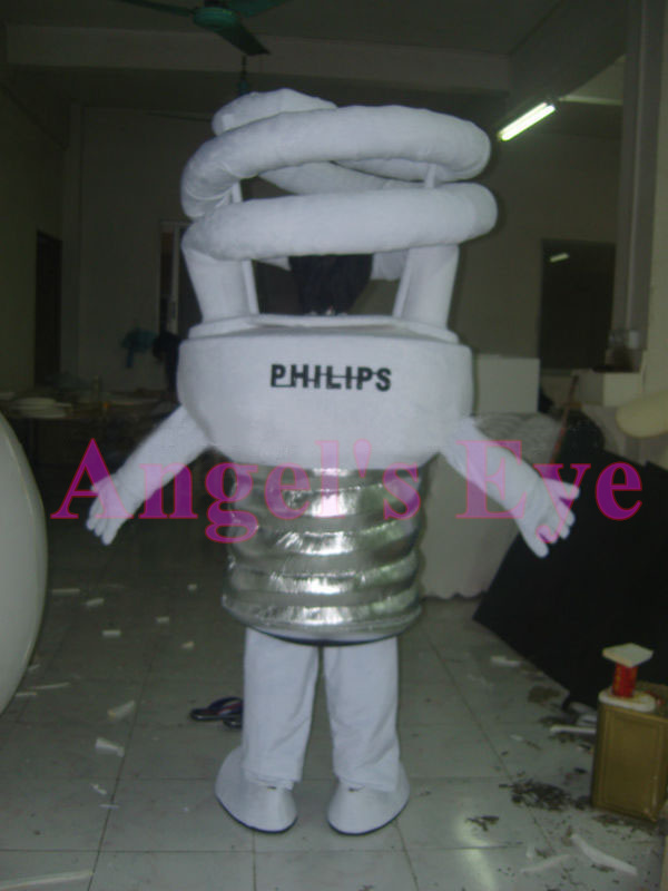 Energy Saving Lamp Bulb Mascot Costume Cartoon Character