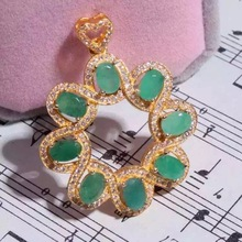 Natural green emerald pendant S925 silver Natural Gemstone Pendant Necklace trendy elegant ball round women party fine jewelry