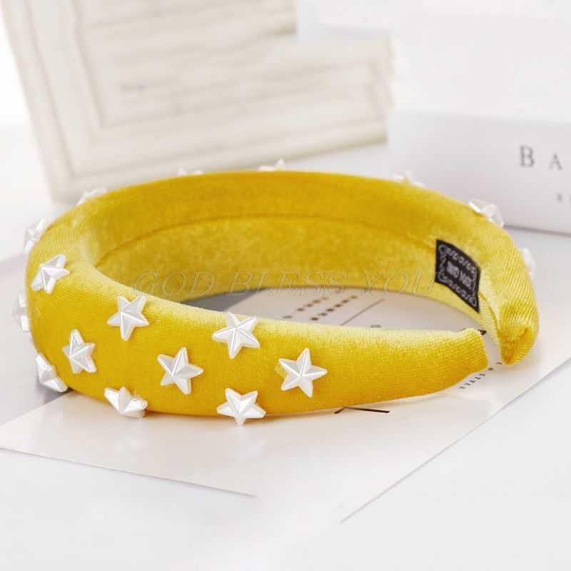 Женская утолщенная мягкая широкая губчатая повязка на голову пятиконечная звезда бисерный бархат обруч для волос Сплошной Цвет Ретро Банкетный головной убор для вечеринок
