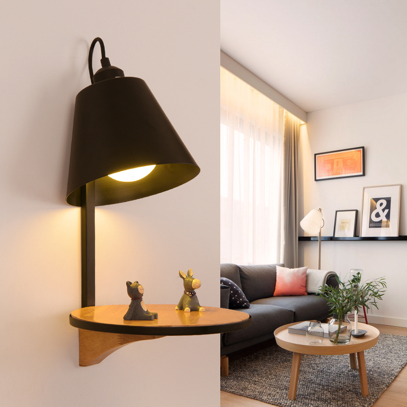 все цены на Nordic bedroom living room bedside wall lamp creative aisle iron embossed corridor single head Wooden wall lights Sconces decors онлайн
