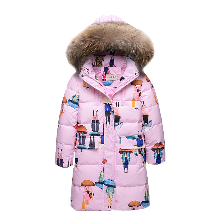 7~13T Youth Big Girls Winter Down Jackets for the Girl Outerwear with Fur Hood Long Coat Color Printing Manteau Fille Hiver a15 girls jackets winter 2017 long warm duck down jacket for girl children outerwear jacket coats big girl clothes 10 12 14 year