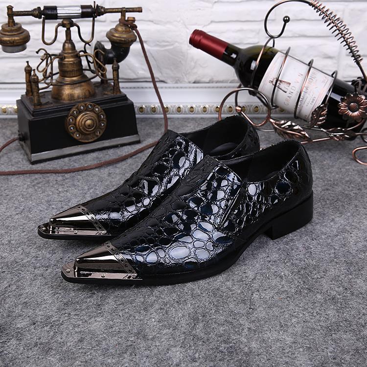 Patrón Plano Para Occidental Estilo Zapatos Toe Hombre Metal As Hombres Oxford Chaussures Pic Puntiagudo Serpiente En 1qRBv7Tq