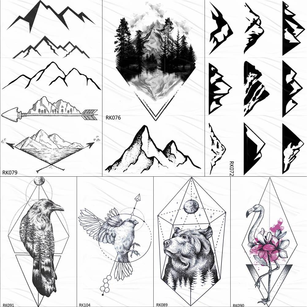OMMGO Black Mountain Peak Arrow Temporary Tattoo Sticker Geometric Small Forest Tattoos Body Art Arm Women Men Fake Tatoos Paper
