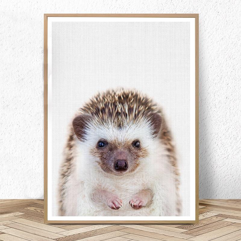 Hedgehog Print Woodland Animal Wall Art Nursery Decor Peekaboo Animal Large Posters And Prints Baby Kids Room Decoration