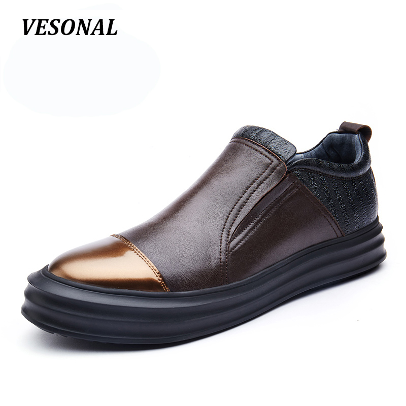 VESONAL Summer Platform Loafers Men Shoes 100% Luxury Genuine Leather Fashion Flats Mens Shoes Casual Classic Designer SD5196 cbjsho brand men shoes 2017 new genuine leather moccasins comfortable men loafers luxury men s flats men casual shoes