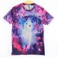 Xqxon-harajuku mujeres hombres 3d galaxy print t shirt espacio blanco lindo gato impreso camisetas de calle fresco camisetas tops tees