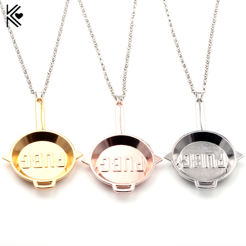 2017 New STG Game Playerunknowns Battlegrounds Pans Weapon Model Beads Chain Pendant Necklace PUBG INVITATIONAL Logo Men Collar