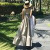 LANMREM الكورية overالركبة فضفاضة كبيرة الحجم الكشكشة أكمام بروتيل عادية 2020 الصيف مثير موضة جديدة الأشرطة فستان YG93102