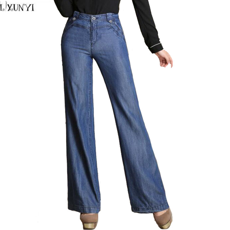 2017 Spring Summer New Tencel jeans Woman Plus Size Women's High Waist jeans Pants Korean loose Thin Straight Pants Trousers