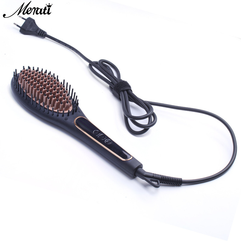 Fast Electric Hair Straightener Comb Safe Professional LCD Ceramic Hair Straightening Brush Styling hair Flat Irons professional ceramic fast hair straightener brush flat iron best price electric hair straightening styling tools