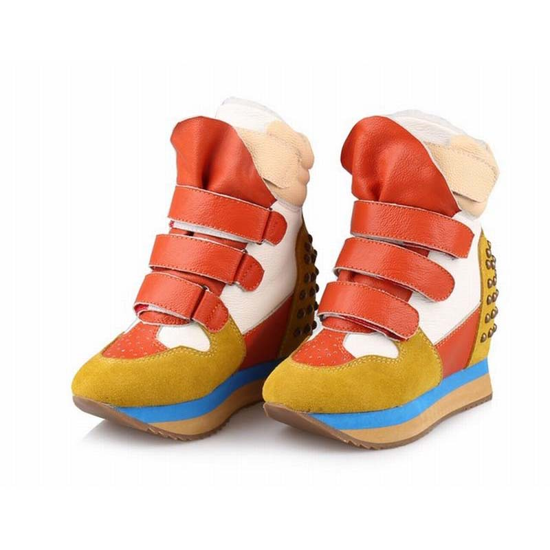 2017 fashion women comfortable cow suede platform wedges high top casual shoes elevator vintage rivets woman warm shoes women sandals 2017 summer shoes woman flips flops gladiator wedges bohemia fashion rivet platform female ladies casual shoes