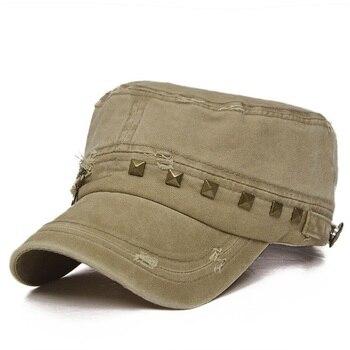 Wuaumx Summer Military Hats For Men Casual Baseball Caps Flat Top Hat For Women zipper Rivet Army Hats Gorras travel Sun Shading